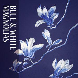 """""""Blue & White Magnolias"""" by Cecelia Claire."""